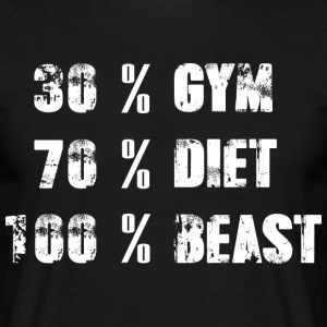 30% GYM - 70% DIET - 100% BEAST - T-shirt herr