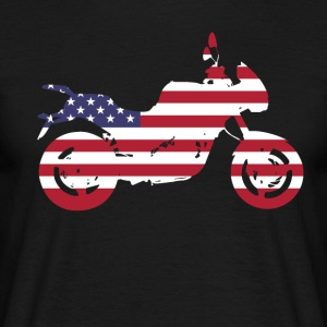 bike-usa motorcycle flag proud America travel vacation - Men's T-Shirt
