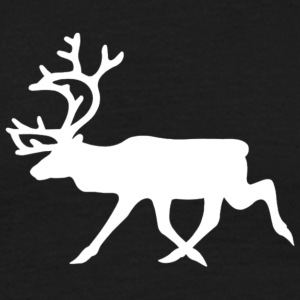 warning_reindeer_roadsign_black_white_line_animal_ - T-shirt herr