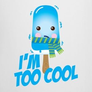 Comic too cool quote ice cream vintage character with scarf for hot sunny summer or freezing cold winter snow weather t-shirts