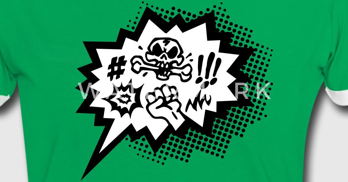 comic symbol fluch totenkopf rger cartoon von hero style spreadshirt. Black Bedroom Furniture Sets. Home Design Ideas