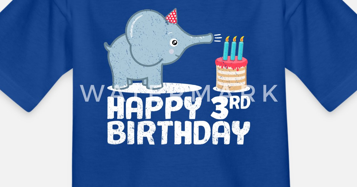 Happy Birthday 3rd Elephant Cake Candles Kids T Shirt