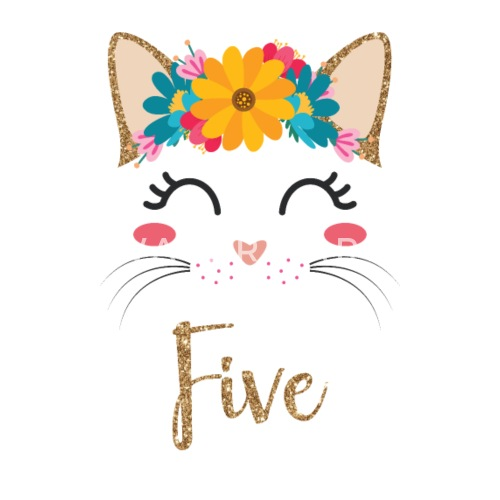 5 Geburtstag Mädchen Katzen Gesicht Miezekatze Kinder T Shirt