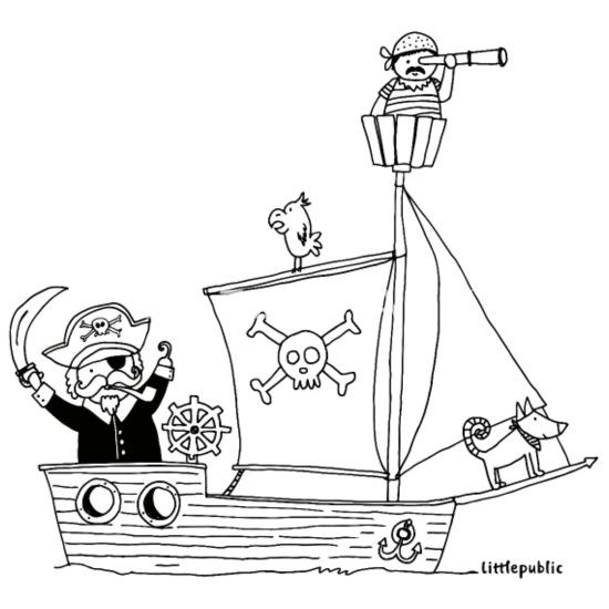 Berlin Piraten | Zum Ausmalen | Littlepublic Kinder T-Shirt