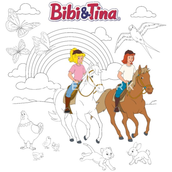 bibi und tina motiv zum ausmalen! kinder t-shirt | spreadshirt