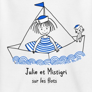 Julie and Mistigri on the waves - Kids' T-Shirt