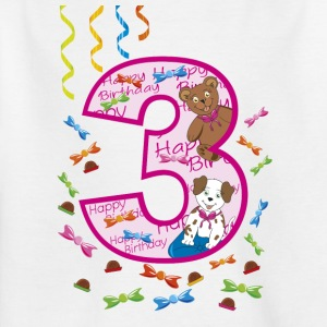 Third birthday 3 years happy birthday pink - Kids' T-Shirt