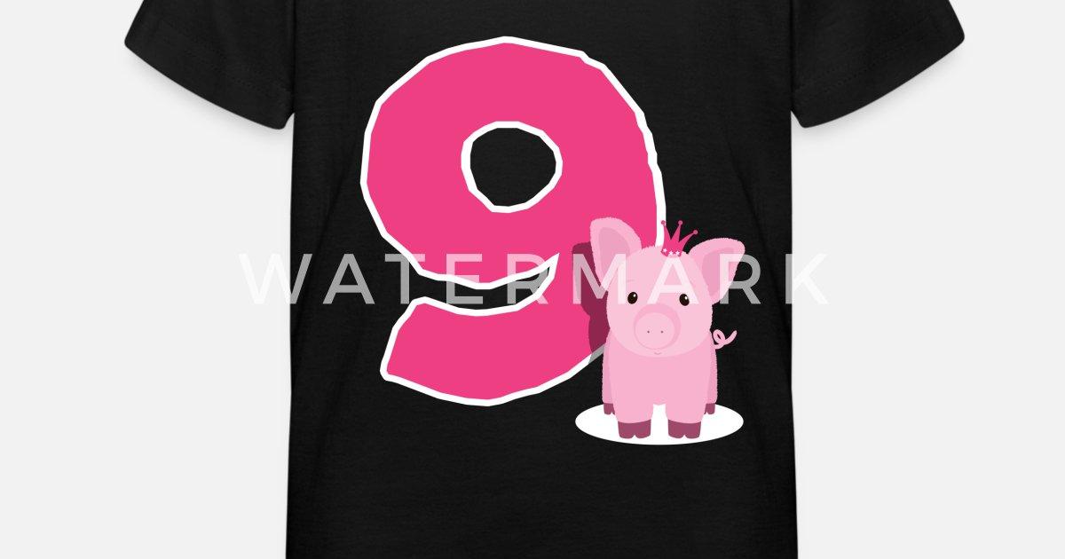 Kind Geburtstag Madchen 9 Jahre Schwein Geschenk Kinder T Shirt