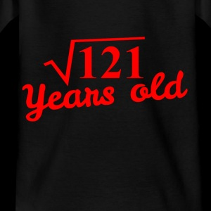 11th birthday: square root 121 years old - red