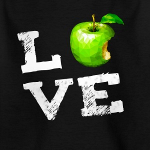 Love Apple Apple Vegan pc nerd geek humor Fruits g - Kinderen T-shirt