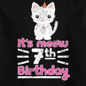 It's meow 7th Birthday! Geburtstag Süße Katze - Kinder T-Shirt