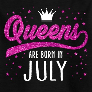 Pink Glitzer Queens Are Born In July - Kinder T-Shirt