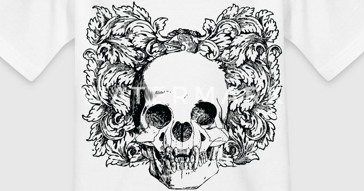 Floral Gothic Skull By Misterm2010