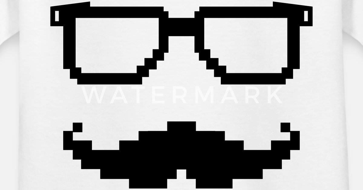f18bab1fd7861 moustache lunette pixel geek T-shirt Ado