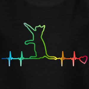 Heartbeat cat rainbow heart beat cat heart curve - Teenage T-shirt