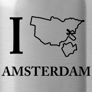 I Love I Love Amsterdam Holland Weed Shirt - Water Bottle