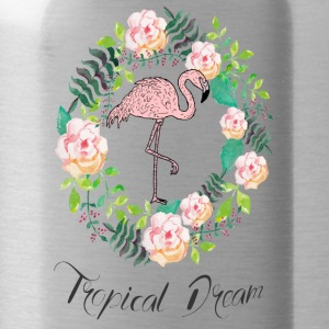 Flamingo - Tropical Dream - Blumenkranz - Water Bottle