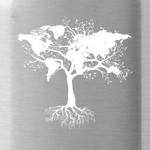 Tree with world map - Water Bottle