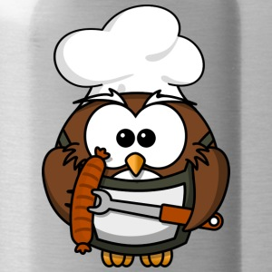 Owl on grill with food comic style - Water Bottle