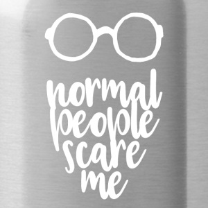Normal people scare me - white - Water Bottle