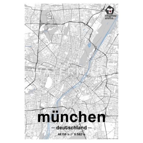 München Karte Deutschland.München Classic Stadt Karte Schwarz Weiß Thermobecher Weiß