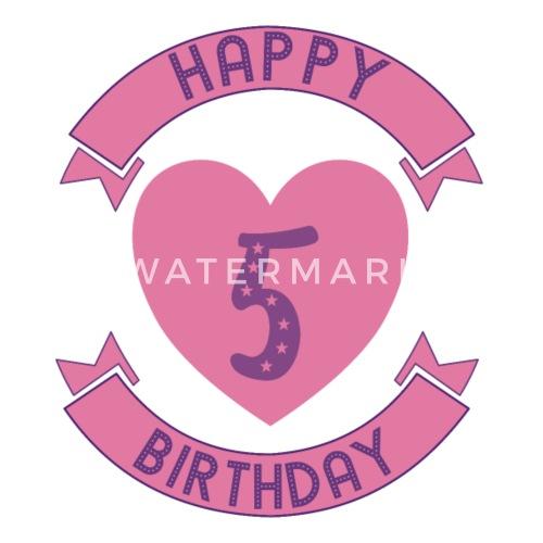 5 Geburtstag Mädchen Happy Birthday Thermobecher Spreadshirt