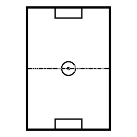 Fussballfeld Schwarz Thermobecher Weiss