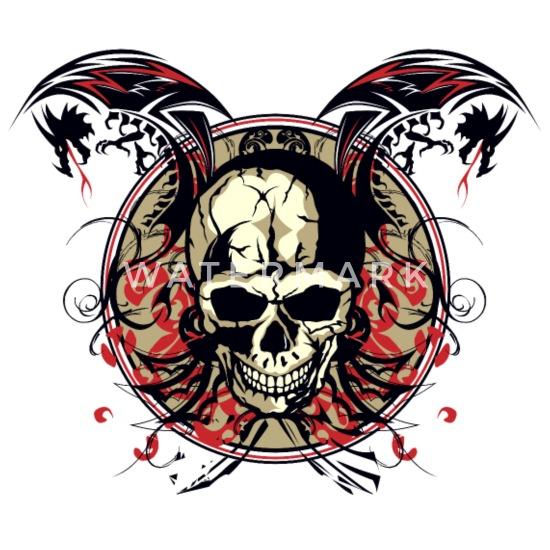 Blanc Dragon De Mort Crane Tete Mug Skull Chinois Tribal Thermos Fan kwO08nPX
