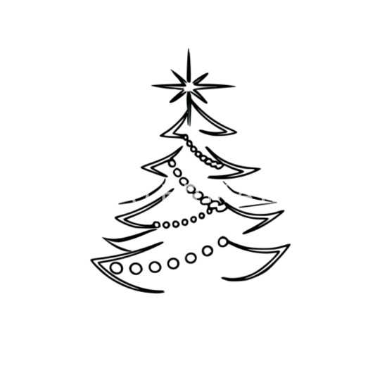 Weihnachtsbaum Schwarz Weiss Thermobecher Weiss