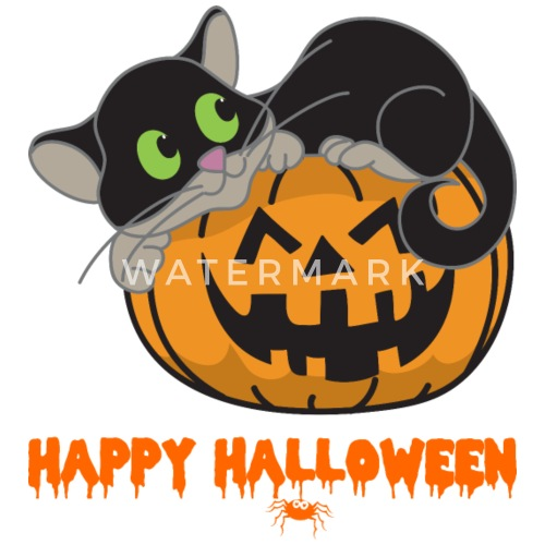 Halloween Katze Monster Zombie Horror Kurbis Thermobecher Spreadshirt