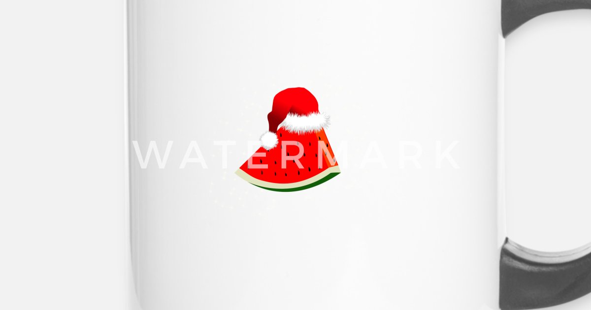 Weihnachtswassermelone mit Sankt-Hut Feiertags-Weihnachten von Fresh ...