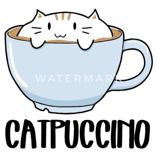 Blanc Mug Catpuccino Chat Thermos Une Avec Café Tasse Mignon Sur Drôle UVGSpqMz