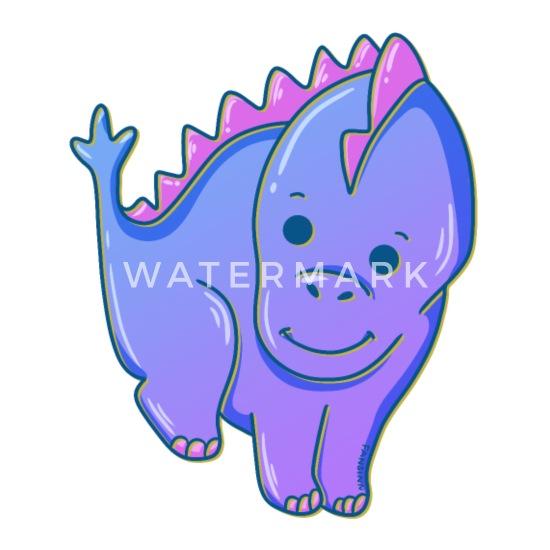Lange Nek Herbivoor Paarse Dino Kids Gift Thermosbeker Spreadshirt