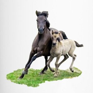 Dülmener Wild Horse mare with foal gallops - Travel Mug