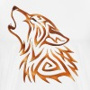 Tribal Wolf Howl Copper Flame - Men's Premium T-Shirt