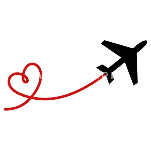 Flugzeug Flieger mit Herz in schwarz rot von SIMSALAPIMP