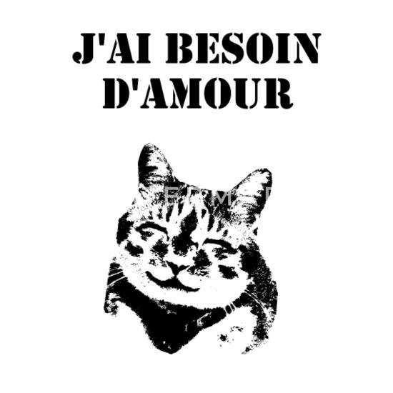 Susse Katze Ich Brauche Liebe Spruch Franzosisch Manner Premium T