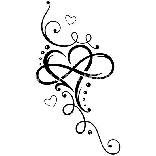 Serce Z Dużą Pętlą Nieskończoności Tatuaż Premium Koszulka