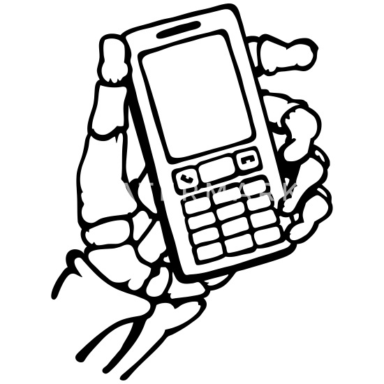 Skelet hånd med mobiltelefon. Intet signal. Premium T shirt