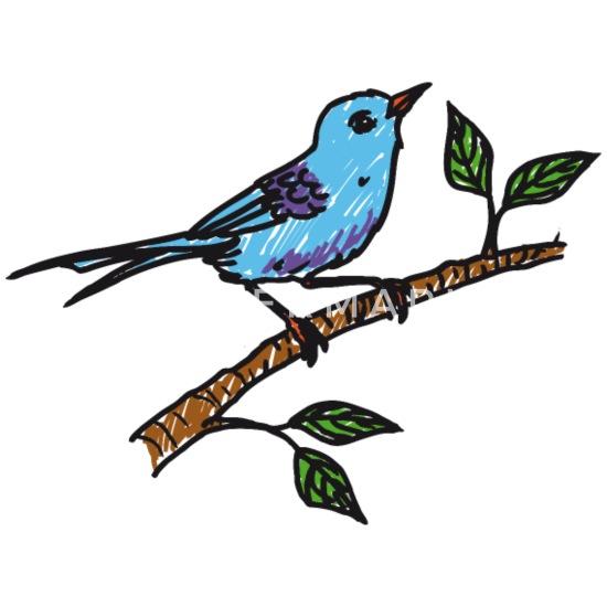 Oiseau Sur La Branche Bleue Dessin Crayon De Couleur T Shirt