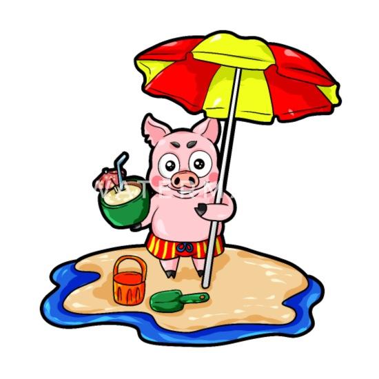Piggy Sur La Plage Avec Dessin Animé De Vacances Cocktail T