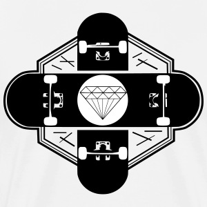 Skateboards kruiselings in hipster design, diamant - Mannen Premium T-shirt