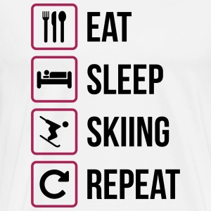 Eat Sleep Skiing herhalen - Mannen Premium T-shirt