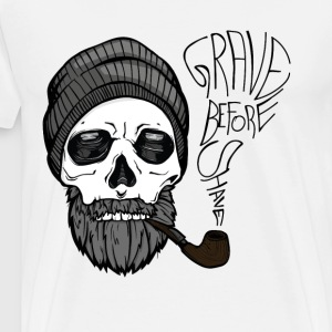 Grave before shave - beard design - 100% Bart - Männer Premium T-Shirt