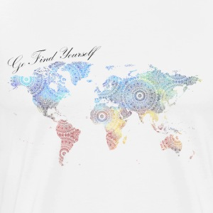 Go find yourself world map with mandala - Men's Premium T-Shirt