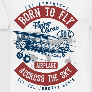 BORN TO FLY - Vintage - Retro Aircraft Shirt Design - Men's Premium T-Shirt