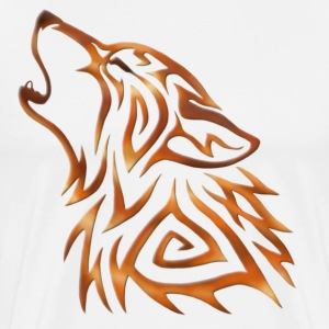 Tribal Wolf Howl Copper Flame - Herre premium T-shirt