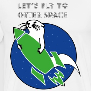 LET'S FLY TO OTTER SPACE GREEN ROCKETS - Men's Premium T-Shirt