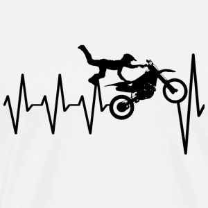 Motocross freestyle with pulse, heart beat, ECG - Men's Premium T-Shirt