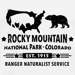 Rocky Mountain National Park Vuori Bison Grizzly Bear - Miesten premium t-paita